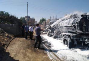 آتش سوزی خودروی حمل قیر در یاسوج+تصاویر